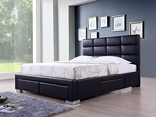 Lars - Cama tapizada de piel ecológica con 4 cajones, 180 x 200 cm, funda de piel con capacidad de almacenamiento, fácil montaje, color negro