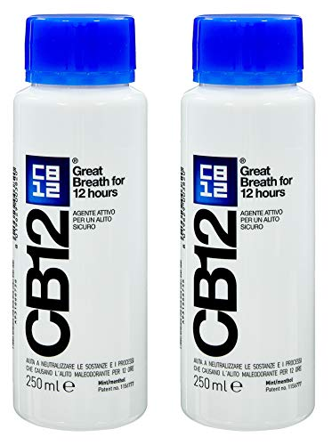 CB12 Mint Menthol Safe Breath Mouthwash (250ml) - Pack of 2 by CB12