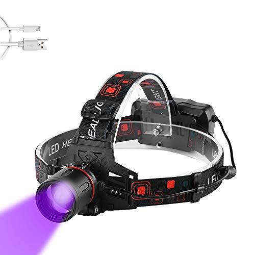Linterna Frontal UV, WESLITE Linternas Frontales Ultravioleta LED Recargable con Luz Negra para Pesca/Escorpiones/Fugas de Aceite de Automóvil y HVAC/Fluorescente/Rocas (Blanco + Luz Púrpura)