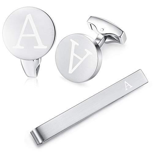 HONEY BEAR Carta Inicial Alfabeto Gemelos & Clip Pasador de Corbata Pisacorbatas - Acero Inoxidable para la Camisa de los Hombres Regalo de Boda del Negocio (Plata) (A)