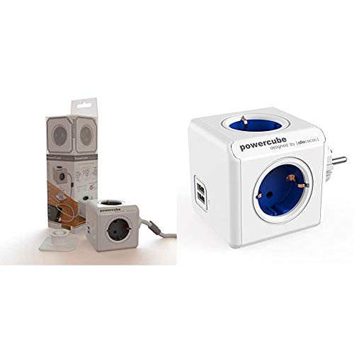 Allocacoc PowerCube - Ladrón con 4 enchufes de Corriente y 2 Puertos USB, Blanco + POWERCUBE Original USB