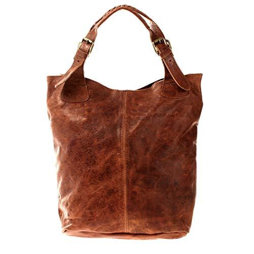 LECONI Henkeltasche Echt-Leder Vintage-Look Damentasche Handtasche für Damen Shopper für Freizeit, Büro oder Shopping Beuteltasche Frauen Ledertasche 34x35x10cm LE0033, Braun – Waxy,