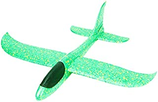 DIY Hand Launch Throwing Glider Aircraft Inertial Foam Airplane Toy Plane Model Broken-resistant Kids Toys Green-CC