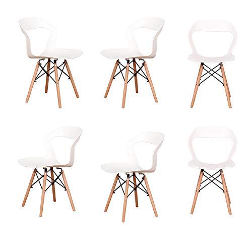 Juego de 4/6 sillas de comedor con respaldo alto para comedor, salón, cocina (blanco 6)