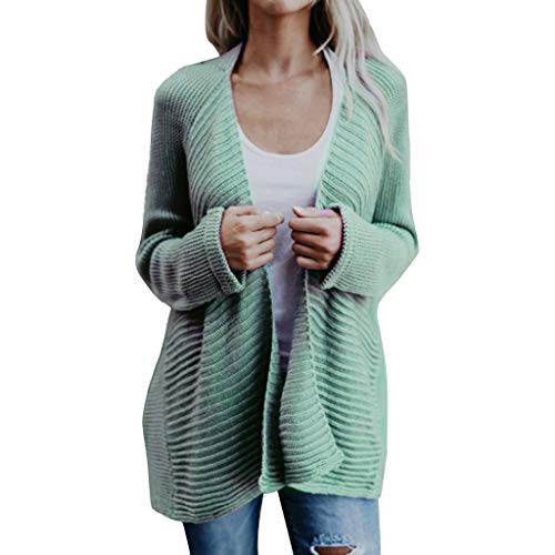 Great Deal! HNTDG Women's Autumn Chunky Warm Loose Solid Open Front Cardigans Long Sleeve Sweater Kn...