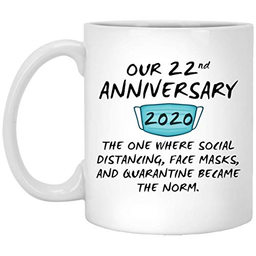 Happy 22Nd Anniversary Mug Quarantine Couple Spouse For Him Her Husband Wife Wedding Gift 11oz
