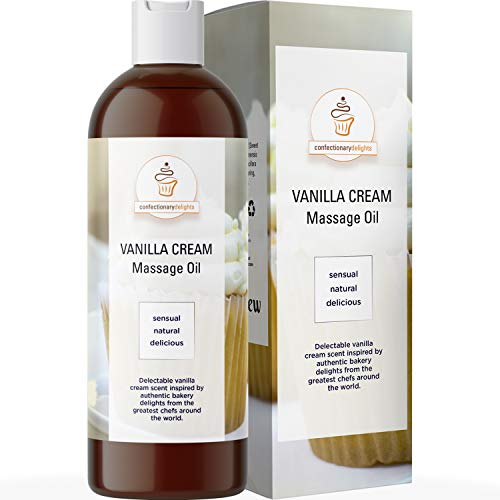 Vanilla Massage Oil for Massage Therapy - Sensual Massage Oil for Couples with Aromatherapy Oils Jojoba Sweet Almond & Coconut Oil for Powerful Skin Care Benefits - Therapeutic Relief Couples Gift