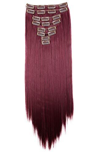 PRETTYSHOP XL 60cm Juego De 7 Piezas CLIP EN EXTENSIONES Extensión De cabello Postizo Recto Vino Tinto CE27
