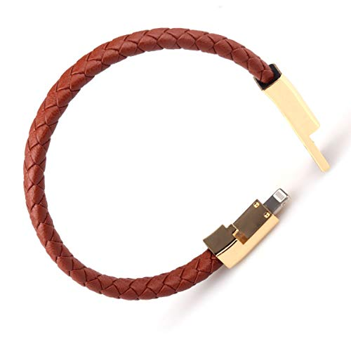 Father's Day Gift USB Leather Charging Bracelets Portable Braided Wrist Band Bracelet Cable Data Charger Cord for iPhone(Gold Metal+ Brown Leather)
