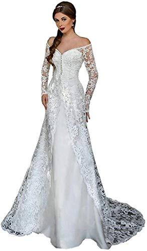 Handgemachte Kreativität 2 Stück von Den Schulterärmeln Satin Meerjungfrau Brautkleid mit Zug und Lange Spitzenjacke für Frauen Braut Weiß, LIFU