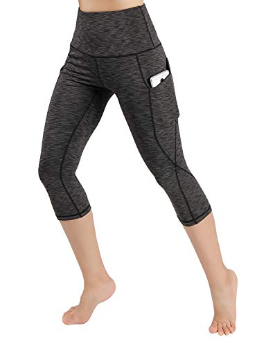 ODODOS Women's High Waist Yoga Capris with Pockets,Tummy Control,Workout Capris Running 4 Way Stretch Yoga Leggings with Pockets,SpaceDyeCharcoal,Small