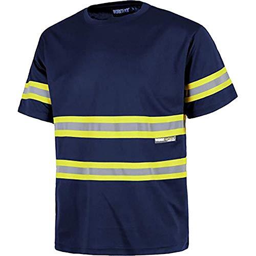 Work Team Camiseta Manga Corta, Cuello Redondo, Cintas Reflectantes combinadas. Hombre Marino+Amarillo A.V. XL