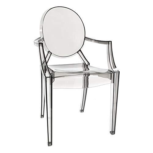 Impressions Cristal Curva Ghost Style Kosmetikstuhl mit transparenter Optik, Rauch-Sessel mit zeitlosen Designs Screams