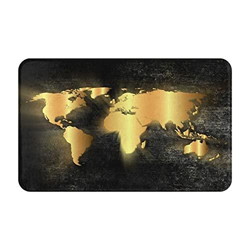 """JLKDF Tapis de Bain Doux antidérapant, Carte du Monde Coeur de Steampunk, Tapis de Sol de Salle de Bain décor à la Maison Micro personnalisé, 31,5""""x 19,5"""""""