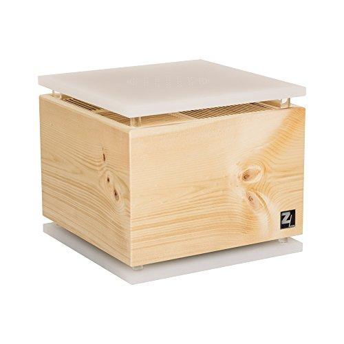 ZirbenLüfter ® CUBE für ca. 40 m2 | Luftbefeuchter | Luftreiniger aus Zirbenholz | die Boden-/Abdeckplatte ist milchig mit eingravierter BLUME des LEBENS