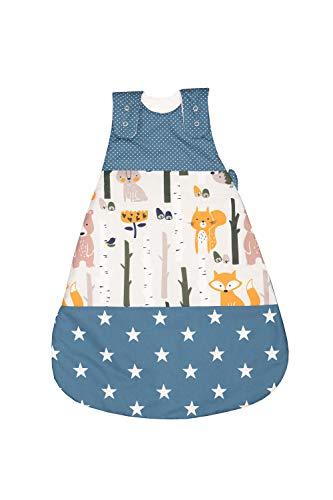 ULLENBOOM ® Baby Schlafsack 0 bis 4 Monate (Größe 56/62) Waldtiere Petrol (Made in EU) - Schlafsack Baby für Frühling, Herbst und Winter, Babyschlafsack mit Motiv: Sterne