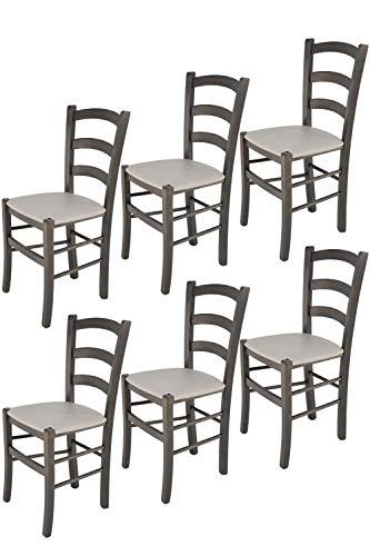 Tommychairs - Set 6 chaises VENICE pour cuisine, bar et salle à manger, robuste structure en bois de hêtre peindré en aniline grise foncée et assise rembourrée et revêtue en cuir artificiel gris clair