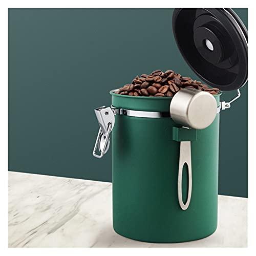 XIANGE100-SHOP Caja de recipientes de Almacenamiento de Acero Inoxidable Caja de Jarra con Cuchara Frijoles de café Nuts Azúcar Latas de Almacenamiento Almacenamiento (Color : Green 1.5L)