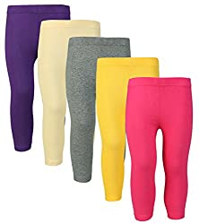 Sinimin Trendy 3/4th Leggings Girls Capri (Pack of 5)