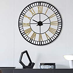 Large Metal Wall Clocks Large Decorative for Living Room Decor, 31 Inch Big Oversized Metal Clock Battery Operated