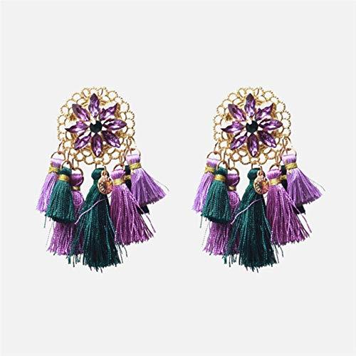 Handgefertigte lila Ohrringe für Damen, modisch, Barock, hängende Ohrringe, große Statement-Ohrringe, Brautschmuck, Party-Geschenk E1968