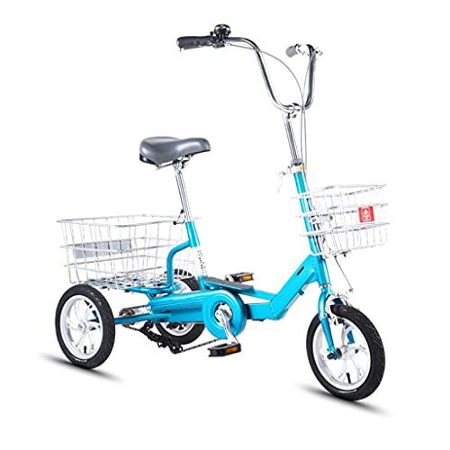 OFFA Bicicletas Ligeras De 12/14 Pulgadas Y 3 Ruedas Triciclo para Adultos Triciclo para Personas Mayores, Bicicletas De Crucero Bicicleta con Cesta De La Compra para Personas Mayores, Mujeres