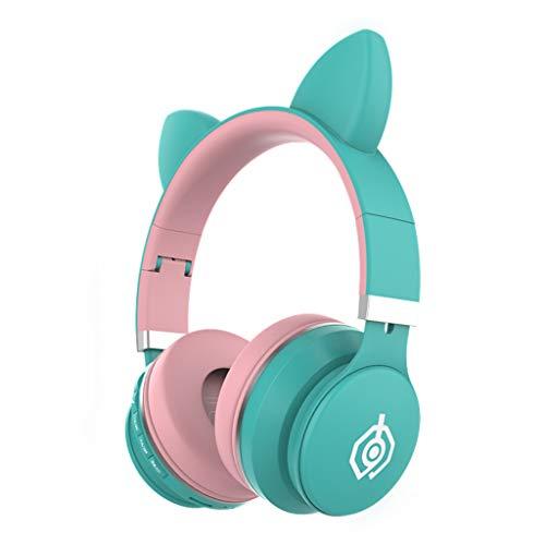 Earphone HSLQXH Niedliches Katzenohr-Headset, drahtloses Bluetooth-Headset-Katzenohr, Gaming-Headset mit Mikrofon, aktive Geräuschreduzierung, geeignet für eine Vielzahl von Geräten