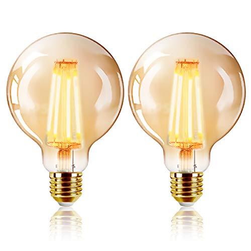 EXTRASTAR Lot de 2 Ampoules LED Edison Vintage G95 E27, 6W, Blanc Chaud 2200K, Intensité lumineuse 540lm, Ampoule Rétro à Filament [Classe énergétique A+]