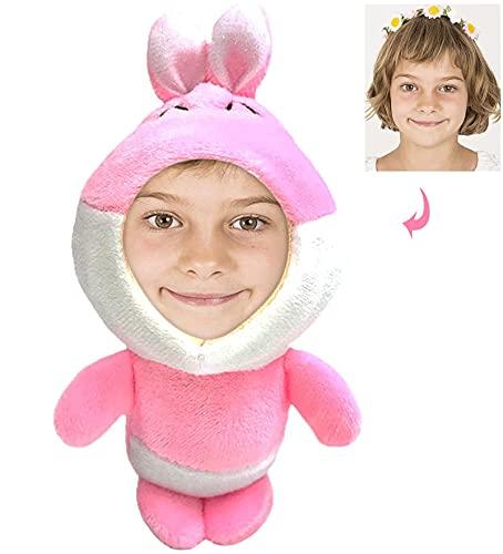 Muñeca Personalizada con Foto - Tu Foto de la Cara ImpresióN 3D PequeñA de Peluche Suave Juguetes Forma de Animales CumpleañOs para Niño Amigo Adulto - Conejo Rosa 12 cm