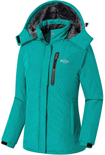 Wantdo Women's Mountain Waterproof Ski Jacket Windproof Rain Coat Turquoise L