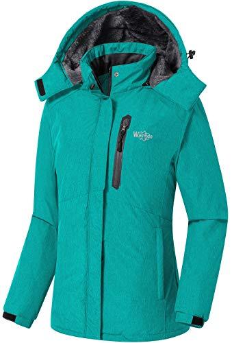 Wantdo Women's Windproof Winter SkiingJacket Hooded Hiking Skiing Jacket Turquoise S
