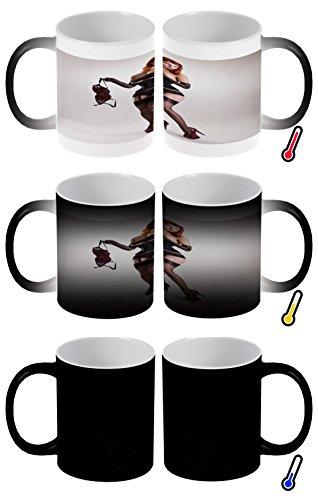 Zaubertasse Farbwechseltasse Kaffeebecher Tasse Becher Latte Cappuccino Espresso Sexy Girl Strapse Unterwäsche