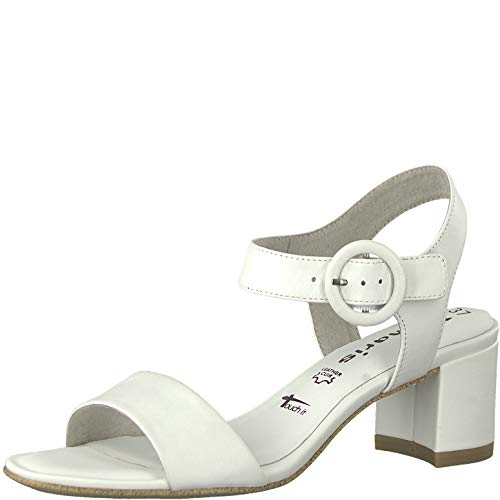 Tamaris 1-1-28324-22 Damen Riemchensandale,Sandale,Sandalette,Sommerschuh,Absatz,Touch-IT,White Leather,40 EU