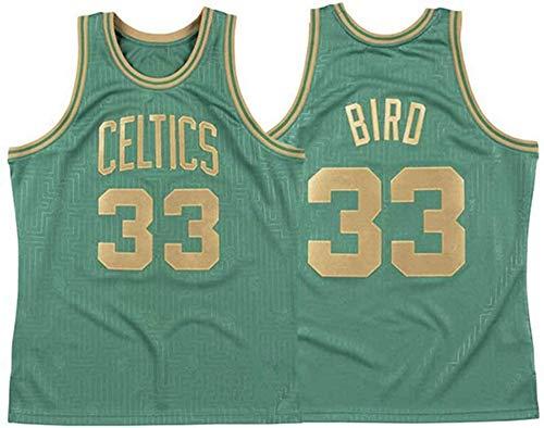 CXJ Basketball Herren Trikots, Boston Celtics # 33 Larry Bird Trikots, Cooles atmungsaktiver Stoff Swingman Sleeveless Weste Top,A,S(165~170CM/50~65KG)