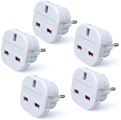 Reiseadapter, GB-auf-EU, weißer Stecker, 2-polig, 5er-Pack