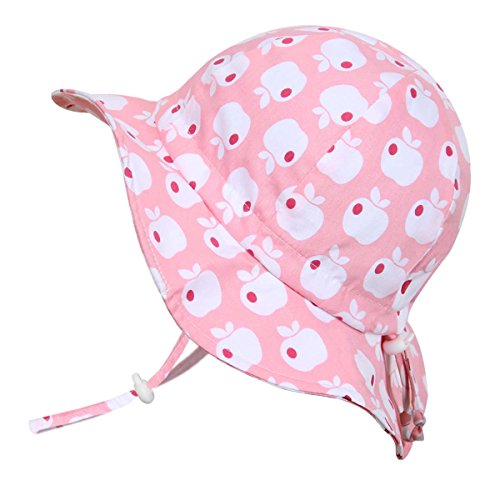 JAN & JUL Cute Infant Baby Girl Breathable Sunhat 50 UPF, Adjustable, Stay-on Tie (S: 0-6m, Floppy Hat: Pink Apple)