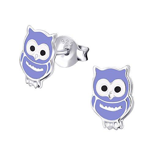 Laimons Kids Orecchini a pressione per bambini gioielli per bambini Gufo Viola Argento Sterling 925