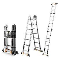 ZR 折り畳み梯子, 多機能エクステンションラダー、折りたたみ式の「A」フレームラダー、屋外用、家庭用、エンジニアリング用、壁にストレートラダーを使用 アウトドア伸縮はしご (サイズ さいず : 2.1+2.1m=Straight ladder 4.2m)