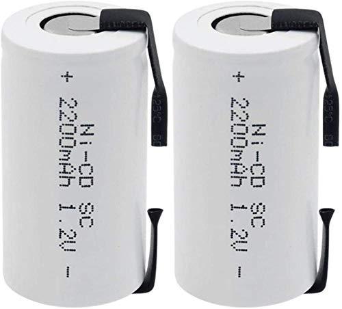 Batería de CD Ni de 1.2v, baterías Recargables de 2200mah con pestañas para Herramientas eléctricas, Dispositivos portátiles 1 Piezas-2 Piezas