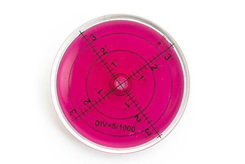 Preisvergleich Produktbild Große Dosenlibelle,  Ø 65mm,  Höhe 10mm,  Transparent / Pink mit Gradanzeige