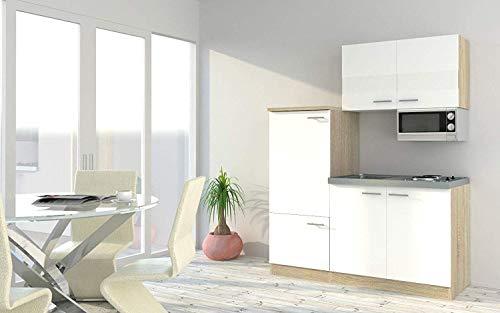 respekta Küche Miniküche Singleküche Küchenzeile Einbau Küchenblock 160 cm Eiche Sonoma Nachbildung Weiß
