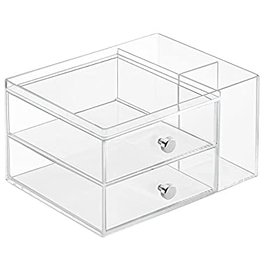 InterDesign Clarity Cosmetic Organizer for Vanity Cabinet – Perfect Storage Box for Makeup, Cosmetics and Beauty Products – 2-Drawer with Side Caddy, Clear