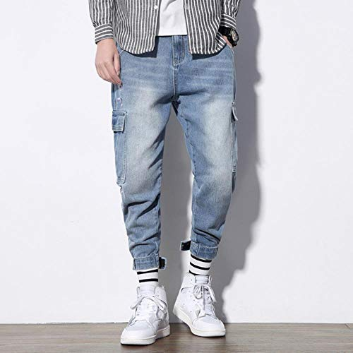 YANGPP Herren Jeans Loose Fit Multi Pockets Denim Cargohose Streetwear Hip Hop Harem Jeans Herren, Blau, 5XL 88 Bis 94Kg