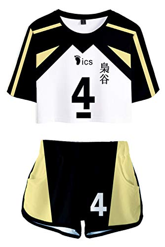 Fukurodani Crop Top and Shorts Bokuto Koutarou Akaashi Keiji Shirt Volleyball Jersey 5 Uniform 4 Anime Cosplay Costume