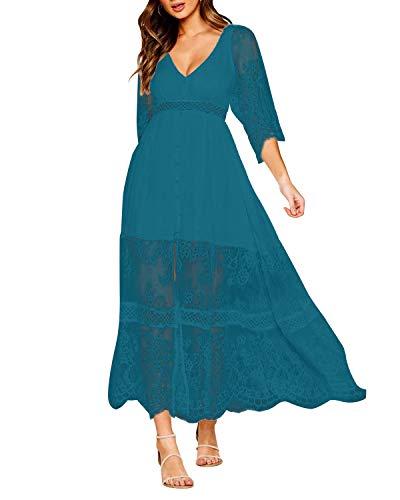 Style Dome Damen Schulterkleid Langarm Boho Kleid Blumenmuster Strandkleid Sommerkleider Lang Maxikleid 6 Blau XL