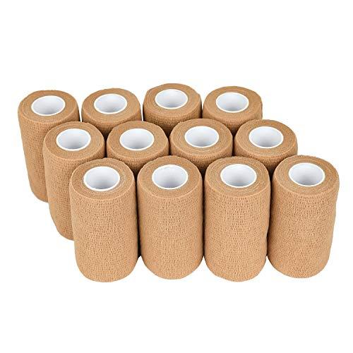 Venda cohesiva 10cm x 4.5m - 12 Rollos Vendas Autoadhesivas, venda elastica adhesiva para Primeros Auxilios, Deportes, Caballos, Perros (Beige)