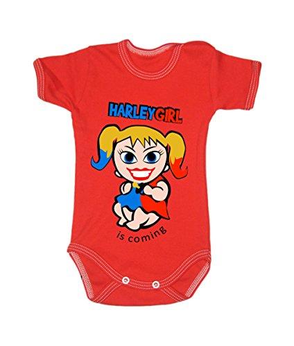 Couleur Mode bébé Harley Quinn bodies à manches courtes 100% coton Petit bébé – 24 mois – 0007 Red tiny baby, 52 cm