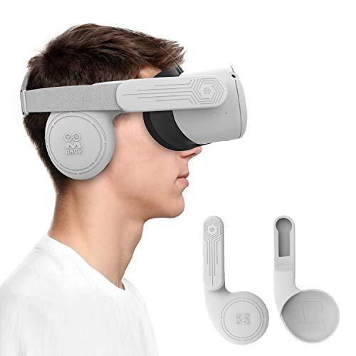 AMVR Lot De 2 Cache-Oreilles En Silicone Pour Casque Oculus Quest 2 VR Pour Un Son Amélioré (Gris)