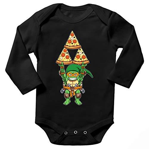 Body bébé manches longues Noir parodie Tortues Ninja - Zelda - Michelangelo se prend pour Link de Zelda - Triforce 4 fromages(Body bébé de qualité supérieure de taille 18 mois - imprimé en France)