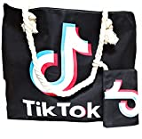 Bolso de playa Tik Tok XXL con cremallera y asas trenzadas y suaves (Black1)